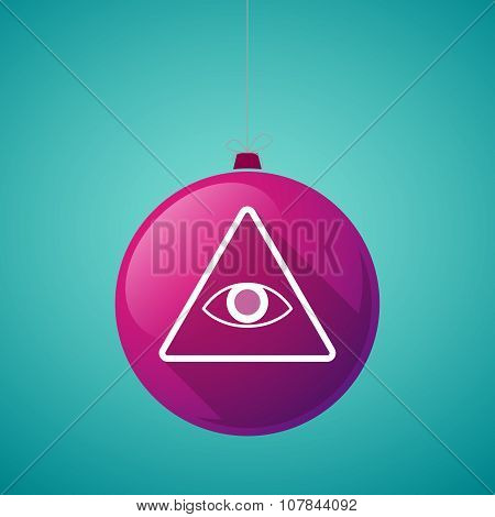 Long Shadow Vector Christmas Ball Icon With An All Seeing Eye
