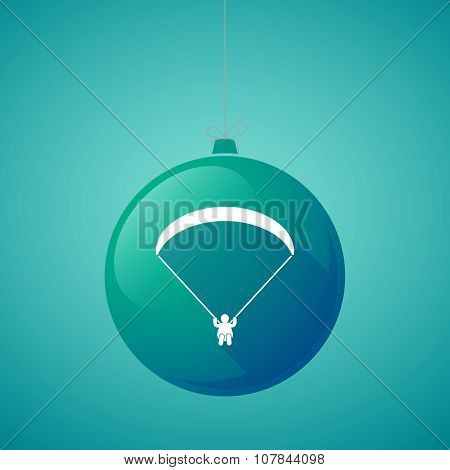 Long Shadow Vector Christmas Ball Icon With A Paraglider