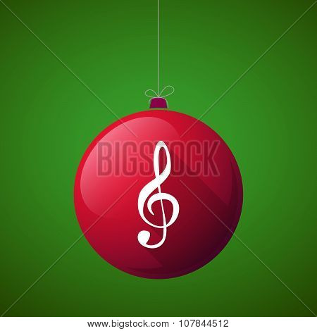 Long Shadow Vector Christmas Ball Icon With A G Clef