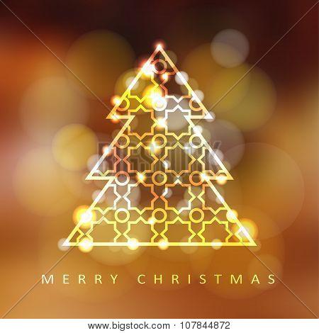 Modern Christmas Greeting Card With Illuminated Ornamental Christmas Tree, Vector
