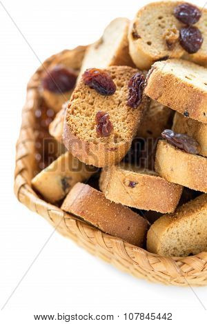Crackers With Raisins Close-up.