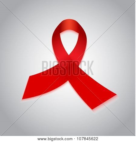 Aids red ribbon awareness day symbol.