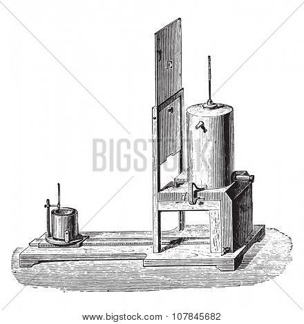 Apparatus Regnault, to determine the specific heat of the body, vintage engraved illustration. Industrial encyclopedia E.-O. Lami - 1875.