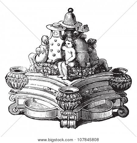 Inkwell majolica, vintage engraved illustration. Industrial encyclopedia E.-O. Lami - 1875.