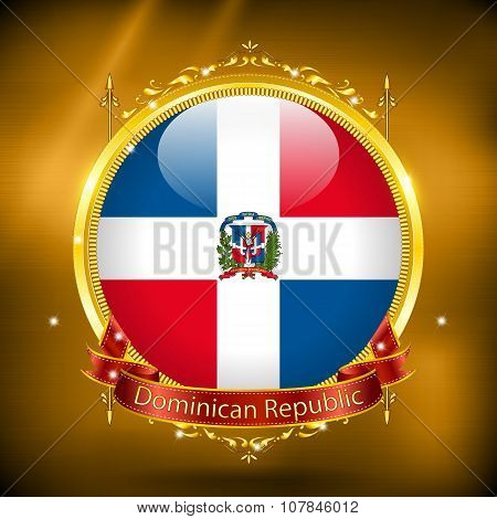 Flag Of Dominican Republic In Gold