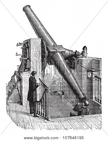 Meridian telescope, vintage engraved illustration. Industrial encyclopedia E.-O. Lami - 1875.