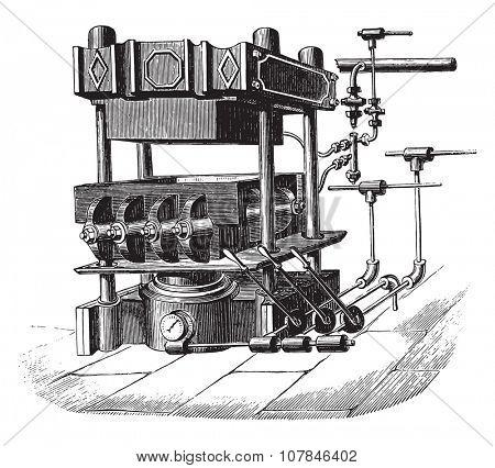 Press block machine, vintage engraved illustration. Industrial encyclopedia E.-O. Lami - 1875.