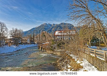 Beautiful landscape of Bavarian Village Garmisch-Partenkirchen (Germany) city of the winter olympics in 1936 with stunning mountain scenery and idyllic little Alpine chalets