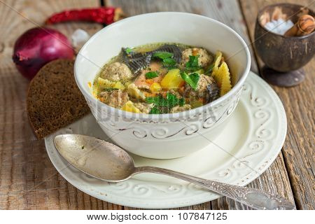 Soup With Pasta And Meatballs Turkey.