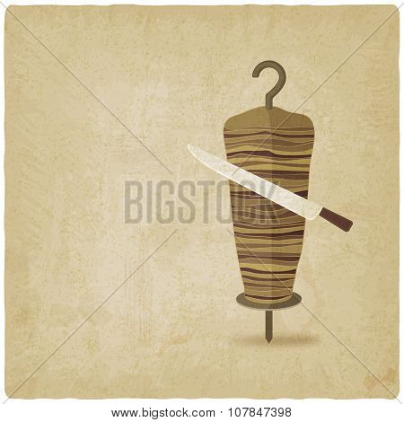 doner kebab with knife old background