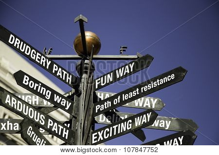 Conceptual sign post. Directional sign with messages