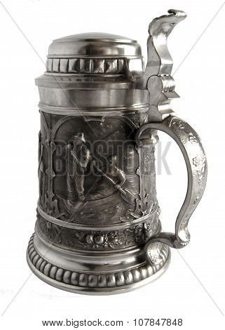 Pewter Beer Tankard With Bas-relief