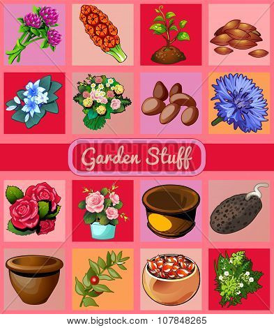 Garden stuff, flowers, pots and seeds, 16 icons