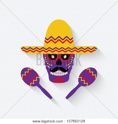 concept for Day of the dead. sugar skull in sombrero with maracas