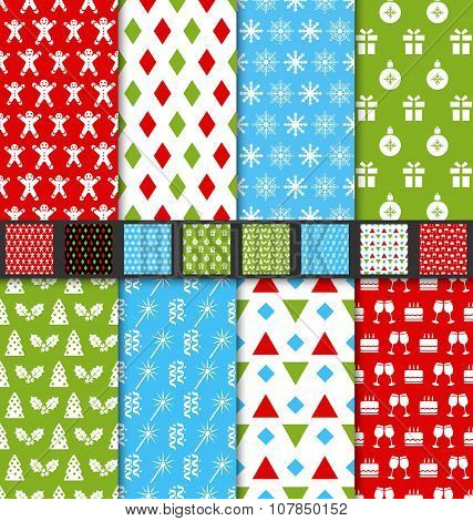 Set Seamless Textures for Winter Holidays