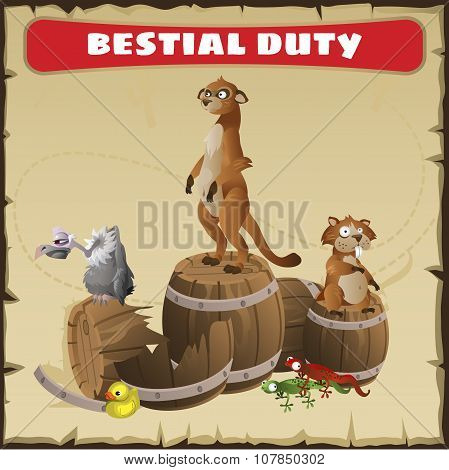 Bestial duty. A funny scene with wild animal