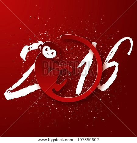 Cute New Year Postcard With Monkey Symbol On Red Background, Year Of The Monkey 2016 Design, Vector