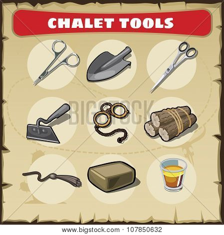 Wild West icons set tools