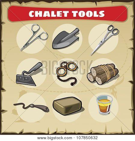 Wild West icons set tools