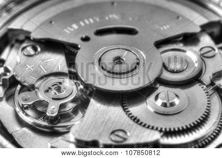 Clock inside closeup