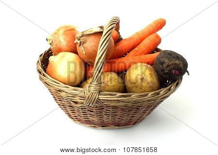 A Small Basket Of Different Vegetables