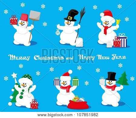 Set Vectors Design Elements Funny Snowman Different Character With Gift Box Christmas Trees And Bell