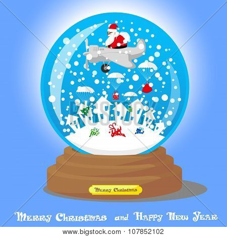 Vector Christmas Snow Globe: Santa Claus As Pilot In Airplane With Big Bag Gifts And Xmas Tree On Bl