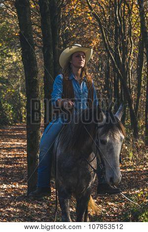 Pretty Girl Riding Her Grey Horse