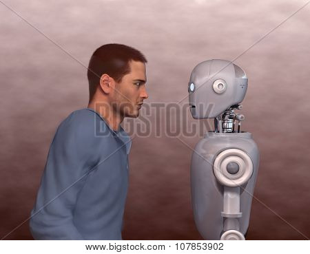 Man and robot