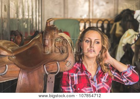 Pretty Girl Posing In Equestrian Context