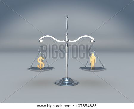 Scale with money symbol and human figure