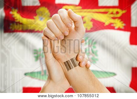 Barcode Id Number On Wrist With Canadian Province Flag On Background - Prince Edward Island