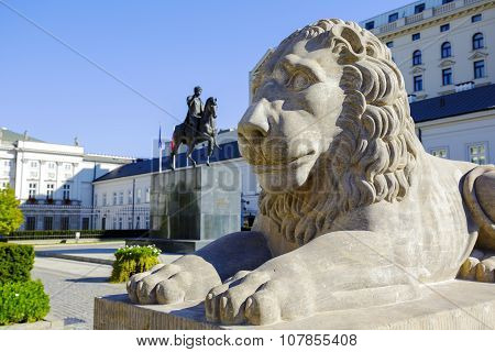 Warsaw, Lion In Front Of The Presidential Palace
