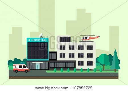 Hospital with ambulance car and helicopter.