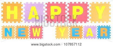 Happy New Year Words Made Of Alphabet Puzzle Isolated On White Background