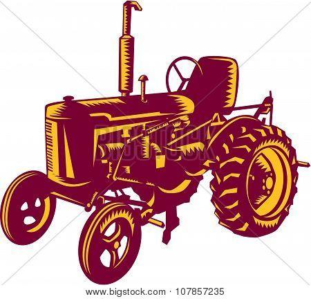 Vintage Farm Tractor Woodcut