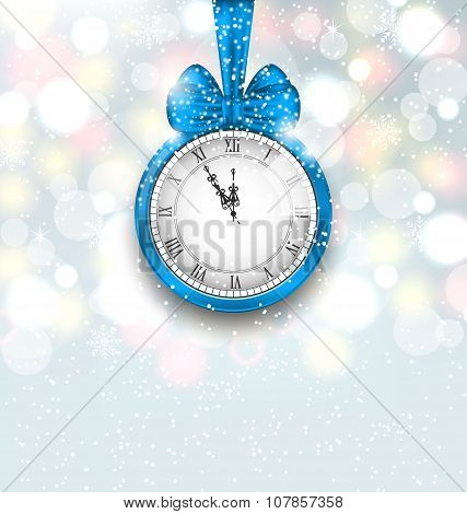 New Year Midnight Shimmering Background with Clock