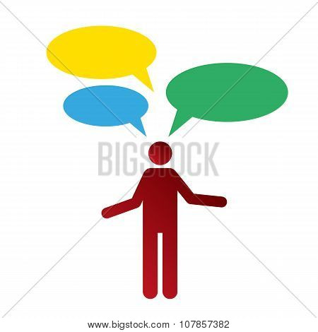 man with questions bubbles on white background