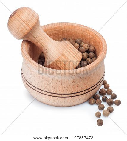 Wooden Mortar For Grinding Dry Spice With Allspice