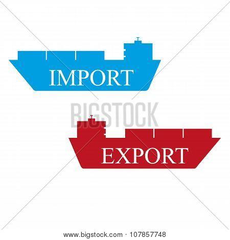 boat transport import export vector