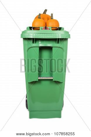 Green Compost and Recycle Bin with Pumpkins on Top