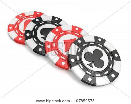 Casino chips with spade heart diamond and club on it. 3D render