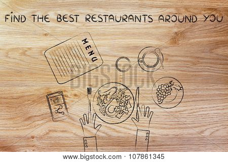 Table With Healthy Food And Text Find The Best Restaurants (flat Illustration)