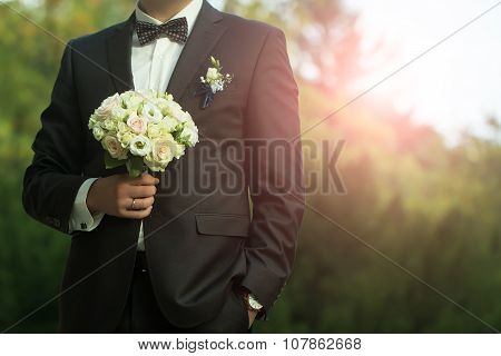 Bride Groom With Flowers