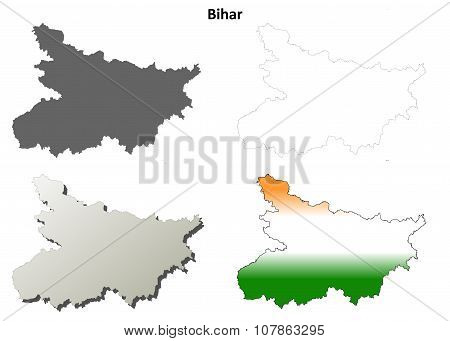 Bihar blank detailed outline map set