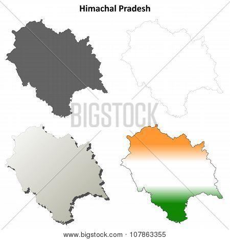Himachal Pradesh blank outline map set