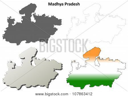 Madhya Pradesh blank outline map set