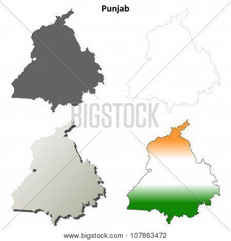 Punjab blank detailed outline map set