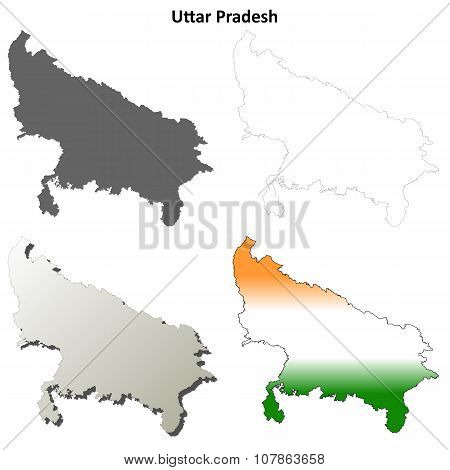 Uttar Pradesh blank outline map set