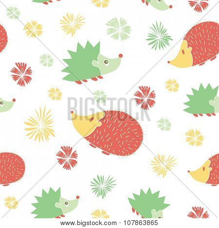 Vector Seamless Pattern with Cute  Cartoon Hedgehogs. Pattern in pink  and green colors. Print for girls.